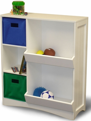 White Storage Cabinet with  2 Veggie Bins, 3 Shelves