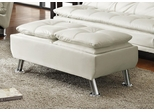 White Storage Ottoman with Chrome Legs - 300293