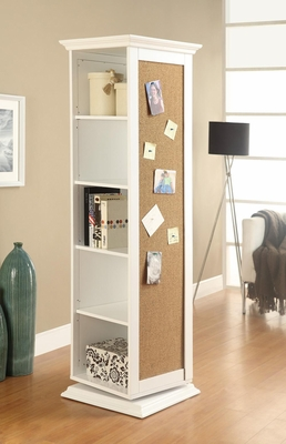 White Swivel Storage Cabinet with Cork Board - 910080
