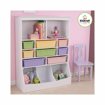 White Wall Storage Unit with Bins - KidKraft