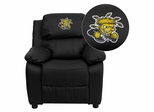 Wichita State University Shockers Black Leather Kids Recliner - BT-7985-KID-BK-LEA-45030-EMB-GG