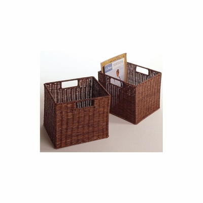 Wicker Espresso Storage Baskets -Set of 2 - Winsome Trading - 92211