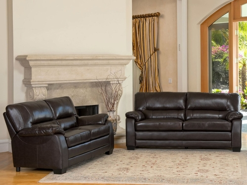 Wilshire Top Grain Leather Sofa and Loveseat Set - Abbyson Living - CI-1307-BRN-3-2