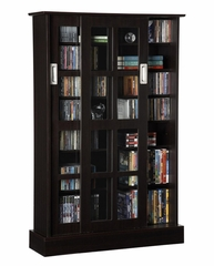 Windowpane 576 CD or 192 DVD Blu-Ray Games Wood Look Cabinet With Sliding Glass Doors in Espresso - Atlantic - 94835721