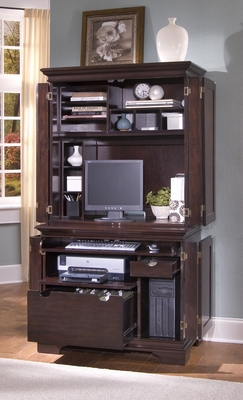Windsor Compact Computer Desk with Hutch in Windsor Cherry - Home Styles - 5541-190