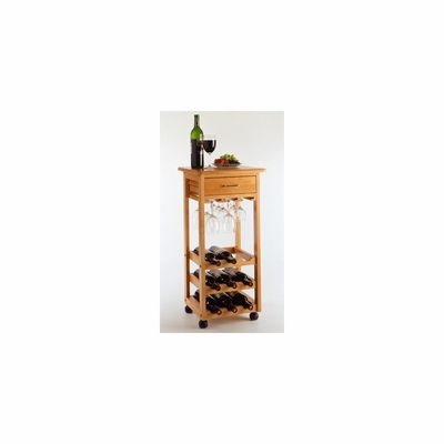 Wine Cart in Oak - Winsome Trading - 34333