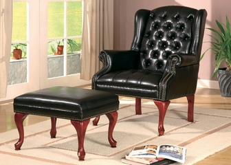 Wing Chair with Ottoman in Dark Brown Vinyl - Coaster