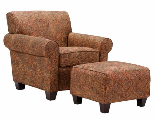 Winnetka Chair and Ottoman in Sienna Paisley - Handy Living - WTK1-CU-PGP46