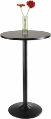 "Winsome 39.76"" Black Round Pub Table w/ Black Leg & Base"
