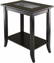 Winsome Genoa Rectangular End Table with Glass Top