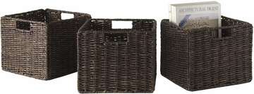 Winsome Granville Foldable 3 Pc Small Corn Husk Baskets, Chocolate