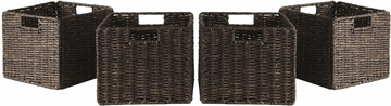 Winsome Granville Foldable 4 Pc Small Corn Husk Baskets, Chocolate