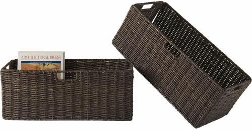 Winsome Granville Large Chocolate Foldable Corn Husk Baskets (Set of 2)