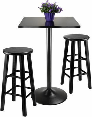 Winsome Obsidian 3-Pc Pub Table with 24