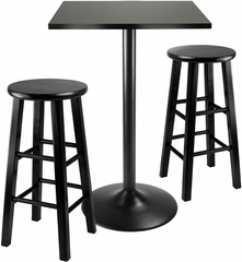 "Winsome Obsidian 3-Pc Pub Table with 24"" Stools"