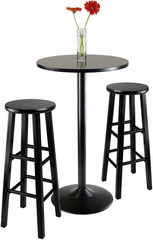 "Winsome Obsidian 3-Pc Pub Table with 29"" Stools"