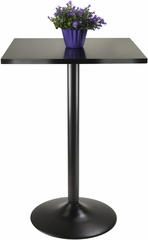 Winsome Square Black Pub Table Top w/ Black Leg & Base