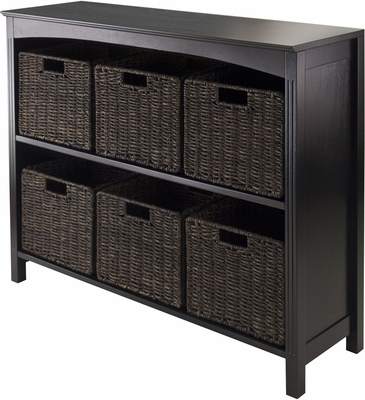 Winsome Trading 7pc Storage 3-Tier Shelf with 6 Small Baskets
