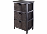 Winsome Trading Omaha Storage Rack with 3 Foldable Baskets
