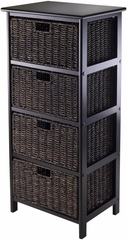 Winsome Trading Omaha Storage Rack with 4 Foldable Baskets
