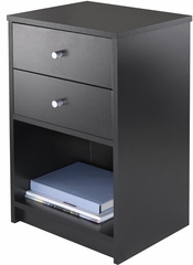 Winsome Wood Ava Accent Table with Two Drawers in Black Finish