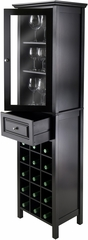 Winsome Wood Burgundy Wine Cabinet 15-Bottle, Glass Door