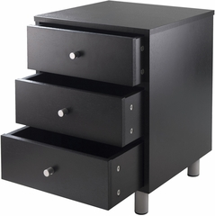 Winsome Wood Daniel Accent Table with Three Drawers, Black Finish