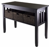 Winsome Wood Morris Console Hall Table with 3 Foldable Baskets