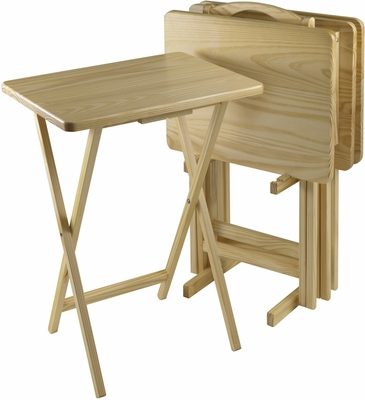 Winsome Wood TV Table Set, Rectangular Pine Wood, Five Piece