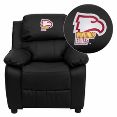 Winthrop University Eagles Embroidered Black Leather Kids Recliner - BT-7985-KID-BK-LEA-45031-EMB-GG