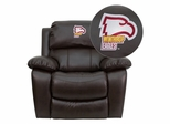 Winthrop University Eagles Leather Rocker Recliner - MEN-DA3439-91-BRN-45031-EMB-GG
