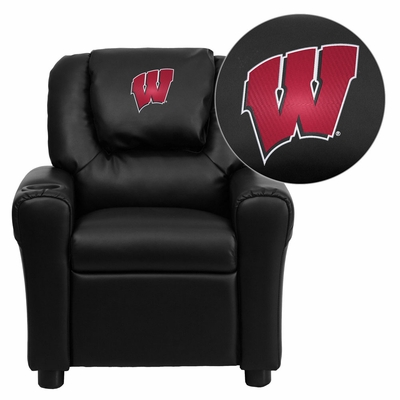Wisconsin Badgers Black Vinyl Kids Recliner - DG-ULT-KID-BK-40033-EMB-GG