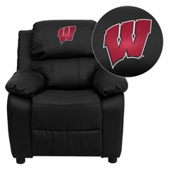 Wisconsin Badgers Embroidered Black Leather Kids Recliner - BT-7985-KID-BK-LEA-40033-EMB-GG