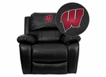 Wisconsin Badgers Embroidered Black Leather Rocker Recliner  - MEN-DA3439-91-BK-40033-EMB-GG