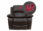 Wisconsin Badgers Embroidered Brown Leather Rocker Recliner  - MEN-DA3439-91-BRN-40033-EMB-GG