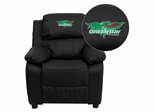 Wisconsin - Green Bay Phoenix Black Leather Kids Recliner - BT-7985-KID-BK-LEA-45027-EMB-GG