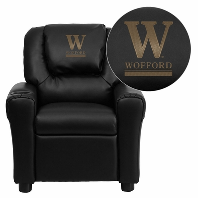 Wofford College Terrier Black Vinyl Kids Recliner - DG-ULT-KID-BK-45032-EMB-GG