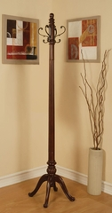 Wood Coat Rack with Antique Brass Hooks - 900764