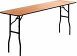Wood Folding Table with Clear Coated Finished Top - YT-WTFT18X72-TBL-GG