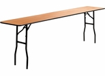 Wood Folding Table with Clear Coated Finished Top - YT-WTFT18X96-TBL-GG