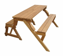 Wood Picnic Table / Garden Bench in Natural - Merry Products - MPG-ACT04