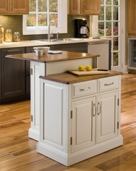 Woodbridge Two Tier Kitchen Island in White / Oak - Home Styles - 5010-94