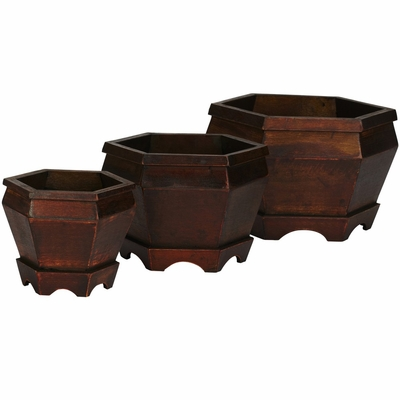 Wooden Hexagon Decorative Planter (Set of 3) - Nearly Natural - 0507