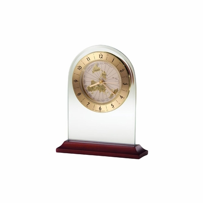 World Time Arch Rosewood Table Clock - Howard Miller