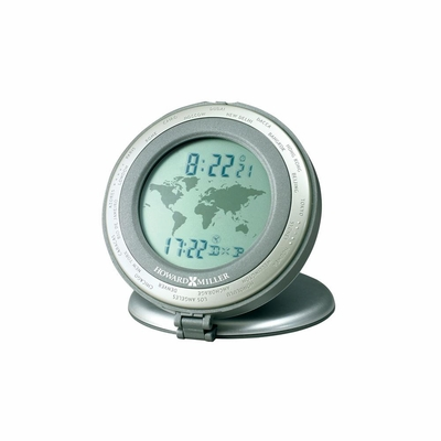 World Travel Alarm Table Clock in Titanium - Howard Miller