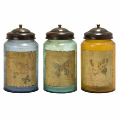 Worldly Butterfly Glass Canisters (Set of 3) - IMAX - 73062-3