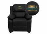 Wright State University Black Leather Kids Recliner - BT-7985-KID-BK-LEA-45036-A-EMB-GG