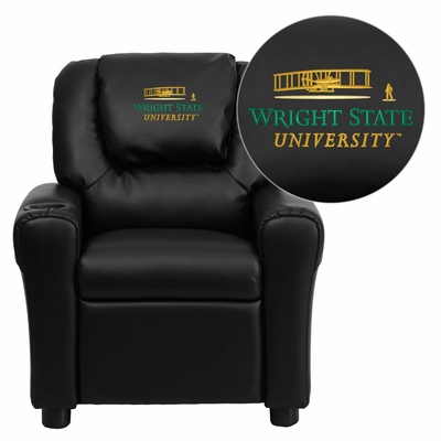 Wright State University Black Vinyl Kids Recliner - DG-ULT-KID-BK-45036-A-EMB-GG