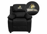 Wright State University Raiders Leather Kids Recliner - BT-7985-KID-BK-LEA-45036-EMB-GG