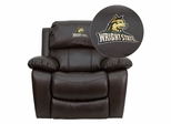 Wright State University Raiders Leather Rocker Recliner - MEN-DA3439-91-BRN-45036-EMB-GG